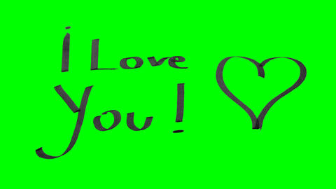 Green screen animation calligraphy writing I love you and drawing a heart with Animation