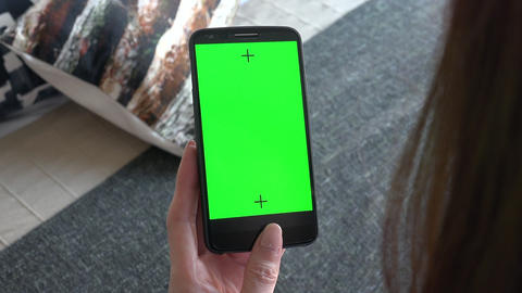 Phone Monitor Smartphone Green Screen With Woman Visiting Internet Website Live Action