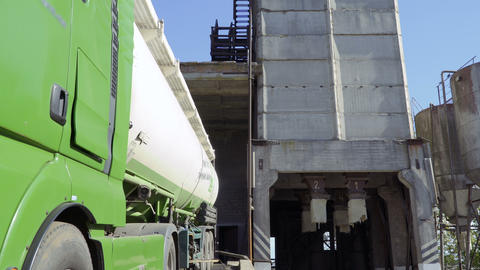 Green truck at the territory of factory Footage