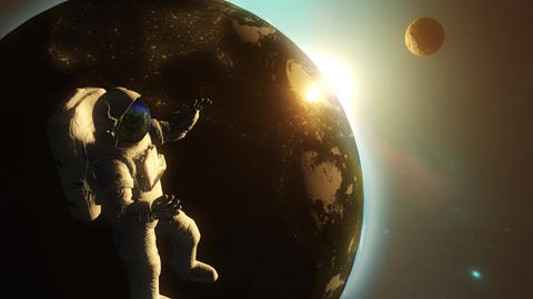 Astronaut in outer space against the backdrop of the planet earth CG動画素材