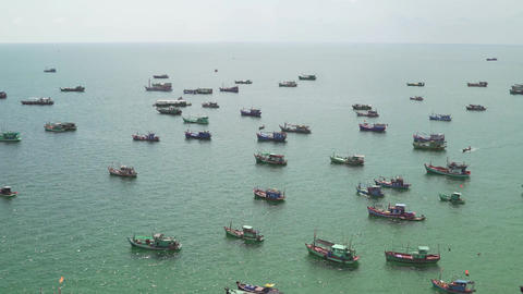 Top view of Ships and Pleasure Boats Sail in the Gulf of Siam. View from the Footage