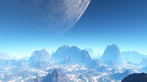 3D animation of planet with huge moon CG動画素材