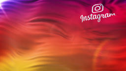INSTAGRAM flag waving on sun. Loop animation In Slow Motion, Editorial Animation Animation