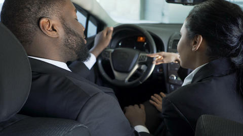 Tricky secretary actively flirting with boss in his car to move up career ladder Footage