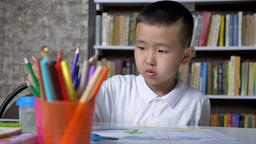 Young concentrated asian kid painting on paper and sitting behind table, boy Footage