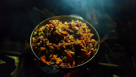 Street food. Food cooked at the stake Footage