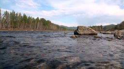 Mountain river Temnik at border of Baikal State Nature Biosphere Reserve Footage