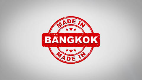 Made In BANGKOK Signed Stamping Text Wooden Stamp Animation Animation