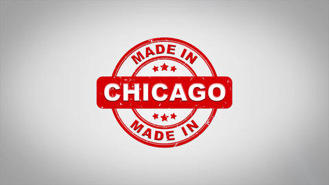 Made In CHICAGO Signed Stamping Text Wooden Stamp Animation Animation