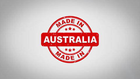 Made In AUSTRALIA Signed Stamping Text Wooden Stamp Animation Animation