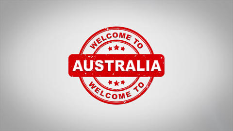 Welcome to AUSTRALIA Signed Stamping Text Wooden Stamp Animation Animation