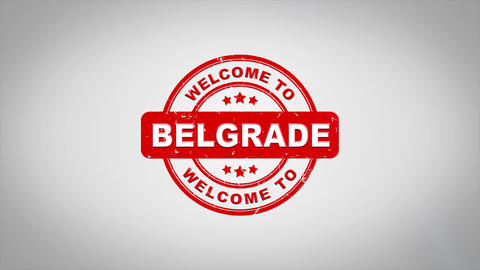 Welcome to BELGRADE Signed Stamping Text Wooden Stamp Animation Animation