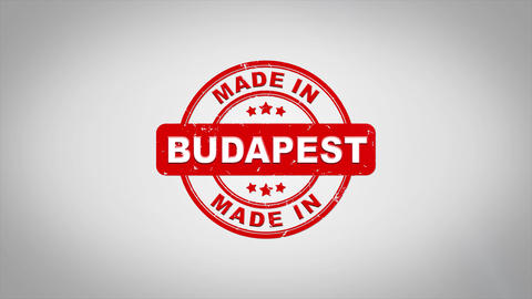 Made In BUDAPEST Signed Stamping Text Wooden Stamp Animation Animation