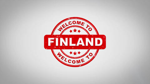 Welcome to FINLAND Signed Stamping Text Wooden Stamp Animation Animation