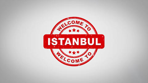 Welcome to ISTANBUL Signed Stamping Text Wooden Stamp Animation Animation