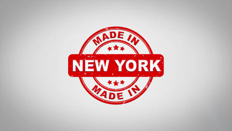 Made In NEW YORK Signed Stamping Text Wooden Stamp Animation Animation