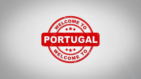 Welcome to PORTUGAL Signed Stamping Text Wooden Stamp Animation Animation