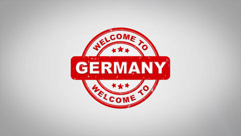 Welcome to GERMANY Signed Stamping Text Wooden Stamp Animation Animation
