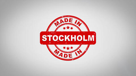 Made In STOCKHOLM Signed Stamping Text Wooden Stamp Animation Animation