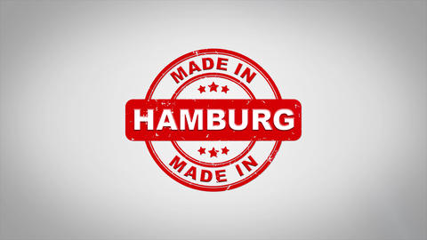 Made In HAMBURG Signed Stamping Text Wooden Stamp Animation Animation