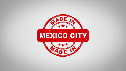 Made In MEXICO CITY Signed Stamping Text Wooden Stamp Animation Animation