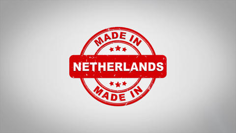 Made In NETHERLANDS Signed Stamping Text Wooden Stamp Animation Animation