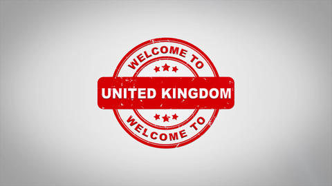 Welcome to UNITED KINGDOM Signed Stamping Text Wooden Stamp Animation Animation