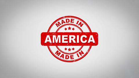 Made In America Signed Stamping Text Wooden Stamp Animation Animation