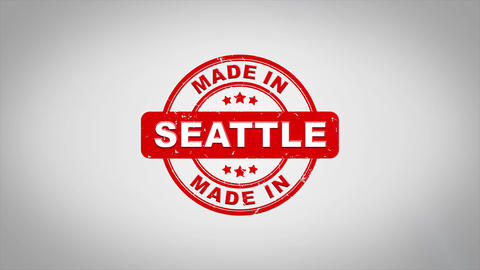 Made In SEATTLE Signed Stamping Text Wooden Stamp Animation CG動画素材