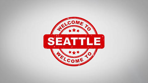 Welcome to SEATTLE Signed Stamping Text Wooden Stamp Animation CG動画素材