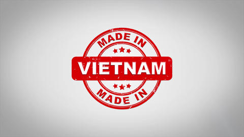 Made In VIETNAM Signed Stamping Text Wooden Stamp Animation CG動画素材