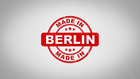 Made In BERLIN Signed Stamping Text Wooden Stamp Animation Animation