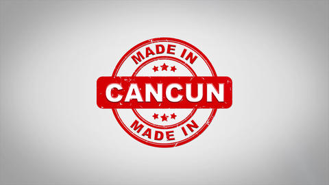 Made In CANCUN Signed Stamping Text Wooden Stamp Animation Animation