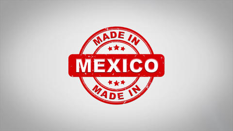 Made In MEXICO Signed Stamping Text Wooden Stamp Animation Animation
