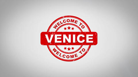Welcome to VENICE Signed Stamping Text Wooden Stamp Animation Animation