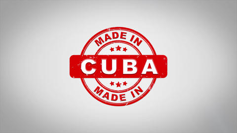 Made In CUBA Signed Stamping Text Wooden Stamp Animation Animation