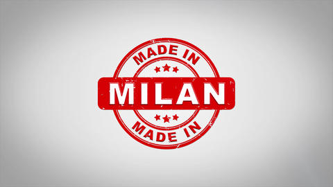 Made In MILAN Signed Stamping Text Wooden Stamp Animation Animation