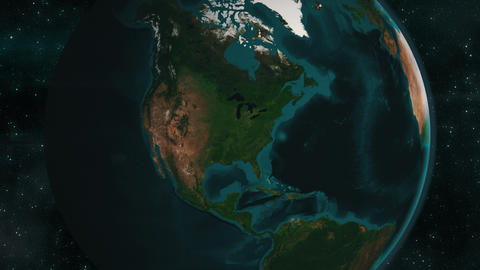 Earth zoom to North America Live Action