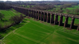 Drone flies slowly back from the Ouse Valley Viaduct Footage