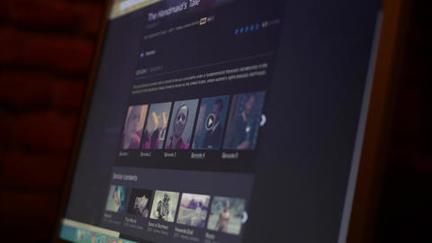 User browsing shows on streaming VOD website HBO GO - Handmaid's Tale Footage