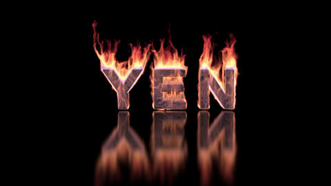 yen word burning in flames on the glossy surface, financial 3D illustration Animation