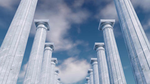 3D ancient columns colonnade against cloudy sky Footage