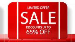 Sales promotional animation video with the inscription 65 percent's discount Animation