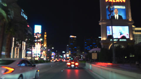 Las Vegas strip driving shot at night ビデオ