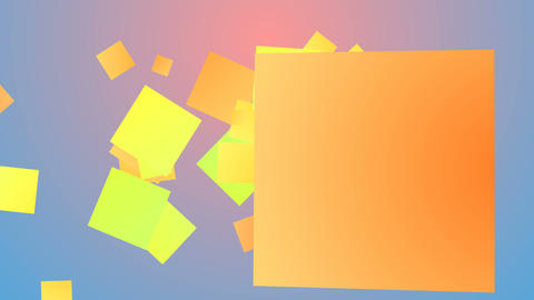 Multicolored backdrop from flying squares Animación