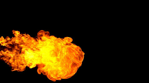 Fire flamethrower on black background slow motion GIF