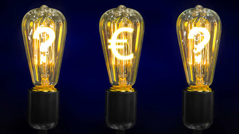 Euro currency sign inside of retro lamps along with question marks Footage