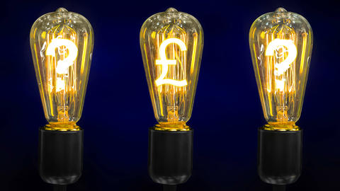 A pound sterling currency mark in the middle of retro lamps along with question Footage