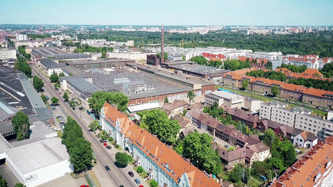 Aerial view of residential and industrial areas in Poznan, Poland Footage