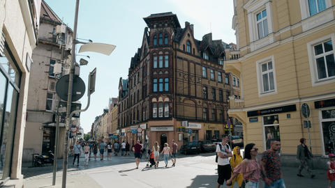 POZNAN, POLAND - MAY 20, 2018. Crowded Polwiejska street in city centre Footage